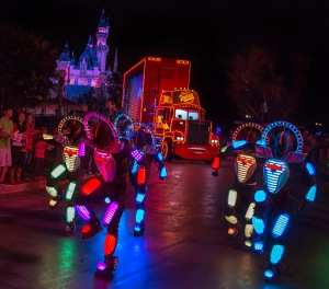 MACK AND THE CARS CREW 'PAINT THE NIGHT' (ANAHEIM, Calif.) — Mack from the Disney●Pixar 'Cars' films appears with the Cars Crew in synchronized, LED costumes in the all-new after-dark spectacular at Disneyland park inspired by the iconic 'Main Street Electrical Parade.' 'Paint the Night' is full of vibrant color and more than 1.5 million, brilliant LED lights and features special effects, unforgettable music, and energetic performances that bring beloved Disney and Disney●Pixar stories to life. (Paul HIffmeyer/Disneyland Resort)