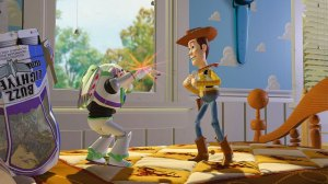 "Tom Hanks as Woody and Tim Allen as Buzz Lightyear in ""Toy Story"""