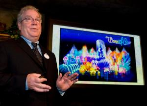 """Bob Weis, executive vice president of Disney's creative division, talks about the new World of Color show that will debut at California Adventure in 2010. ///ADDITIONAL INFO: n.disneywater.0716 - 7/16/09 - Photo by JOSHUA SUDOCK, THE ORANGE COUNTY REGISTER - Disney invited members of the press to a preliminary briefing on their new water show, currently in production, at California Adventure called """"Disney;s World of Color."""" The show features new projection technology, LED light effects, lasers, flame throwers, Disney characters and a whole new musical score. It will debut in the spring of 2010."""