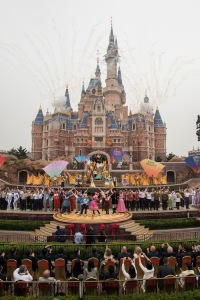 SHANGHAI (June 16, 2016) – Thousands of invited guests celebrated the Grand Opening of Shanghai Disney Resort today with the help of a flood of Shanghai Disney cast members and Disney character friends. Bob Iger, chairman and CEO of The Walt Disney Company joined Chinese CPC Politburo members Wang Yang, State Council Vice Premier, and Han Zheng, Party Secretary of Shanghai, to officially open the resort's new theme park, Shanghai Disneyland, at the iconic Enchanted Storybook Castle. At the dedication ceremony, six performers wearing enormous, colorful flags represented the six lands of Shanghai Disneyland: Adventure Isle, Gardens of Imagination, Fantasyland, Mickey Avenue, Tomorrowland and Treasure Cove. Shanghai Disney Resort is a world-class family entertainment destination, imagined and created especially for the people of China. The resort consists of Shanghai Disneyland, a theme park with magical experiences for guests of all ages; two richly themed hotels; Disneytown, an international shopping, dining and entertainment district; and Wishing Star Park, a recreational area with peaceful gardens and a glittering lake. Shanghai Disney Resort is a joint venture between The Walt Disney Company and Shanghai Shendi Group comprised of two owner companies (Shanghai International Theme Park Company Limited and Shanghai International Theme Park Associated Facilities Company Limited) and a management company (Shanghai International Theme Park and Resort Management Company Limited). (Todd Anderson, photographer)
